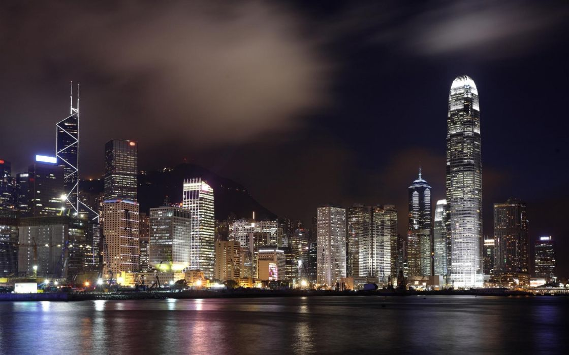 Hong Kong world cities architecture buildings skyscrapers window glass steel metal skyline cityscape night lights sky clouds hdr rivers bay marina water reflections bridges scenic wallpaper