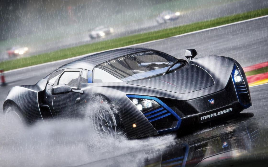 MaRussia B2 vehicles cars auto supercar race racing track race rain wet splash drops reflection spray wallpaper