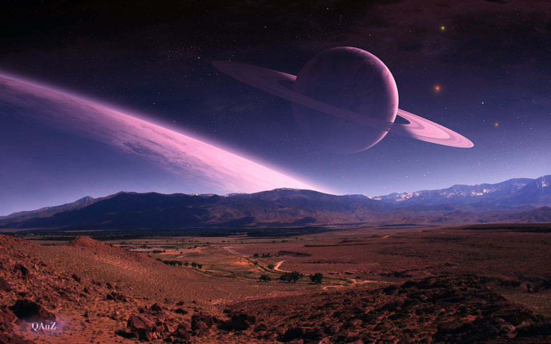 Quaz manipulation cg digital art nature landscapes fields hills mountains planets scapes sky stars space sci fi science fiction wallpaper