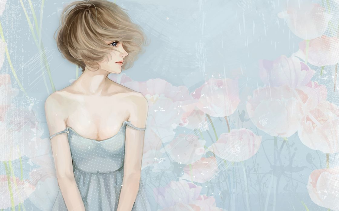 anime manga original soft art artistic nature flowers women females girls breast boobs cleavage blondes mood spring sensual wallpaper