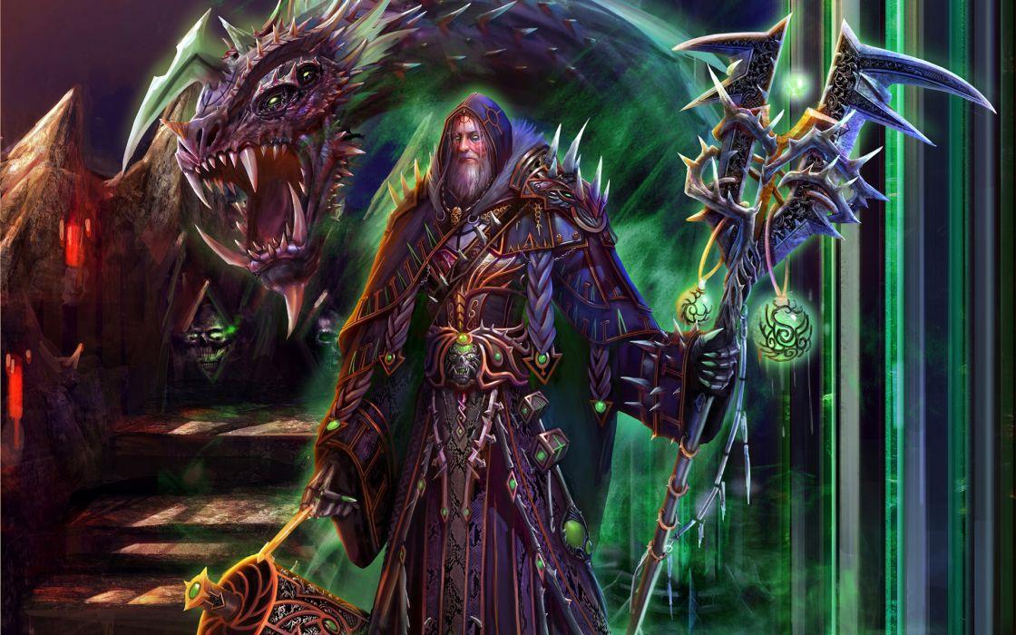 SOULSSHINE ONLINE A-Sloudi Shou tomb Summoner-Falisa fantasy magic wizard sorcerer magician staff orbs detail color dragons armor warrior wallpaper