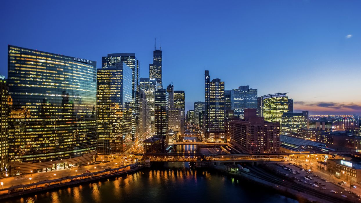 chicago world cities architecture buildings skyscrapers wondow lights night hdr marina harbor water reflection sky sunset sunrise wallpaper