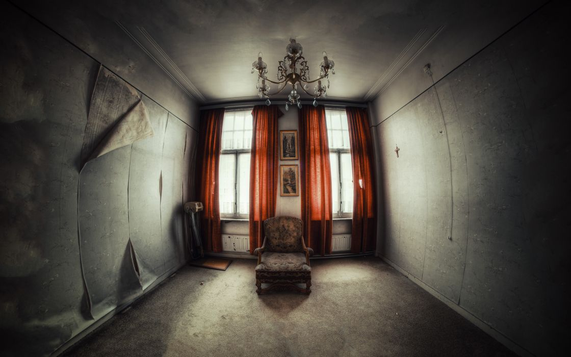 gothic drak horror scary spooky creepy furniture window drapes chair mood chandelier light sunlight urban decay ruin abandonment wallpaper