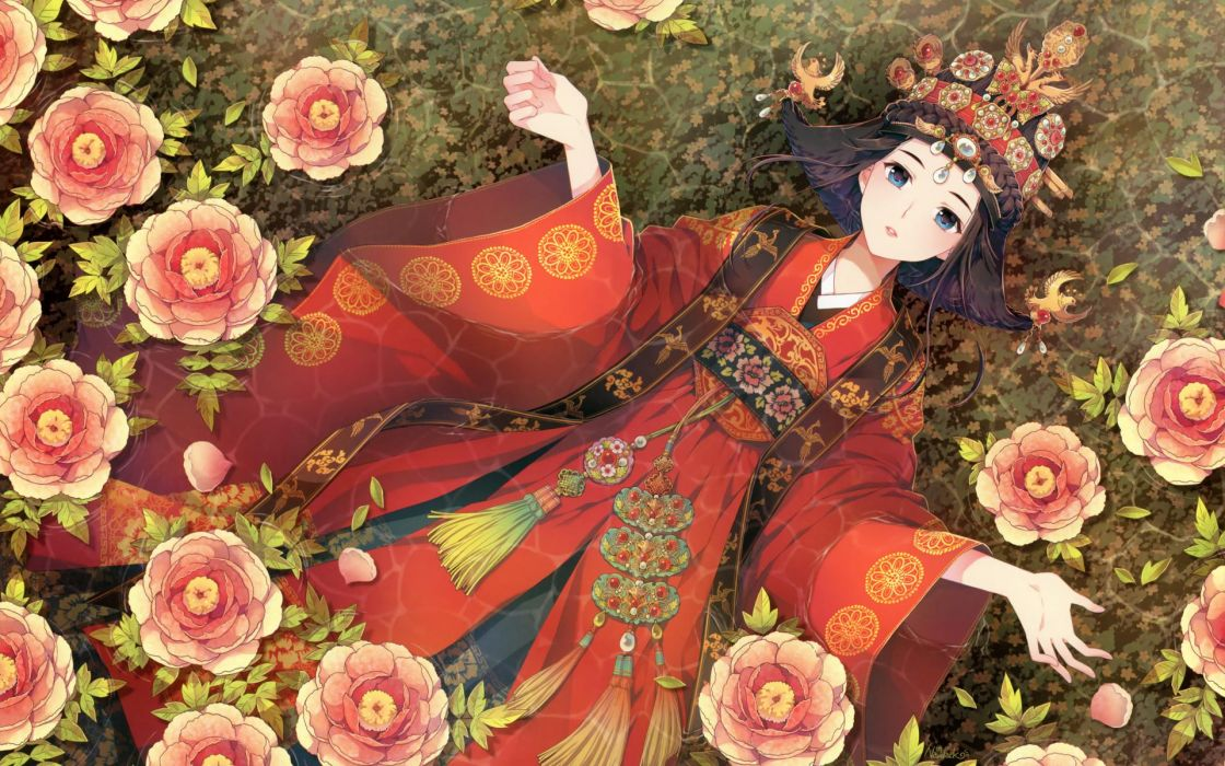 Nardack Anime Manga Asian Oriental Kimono Japanese Clothes Flowers Art Artistic Color Style Wallpaper