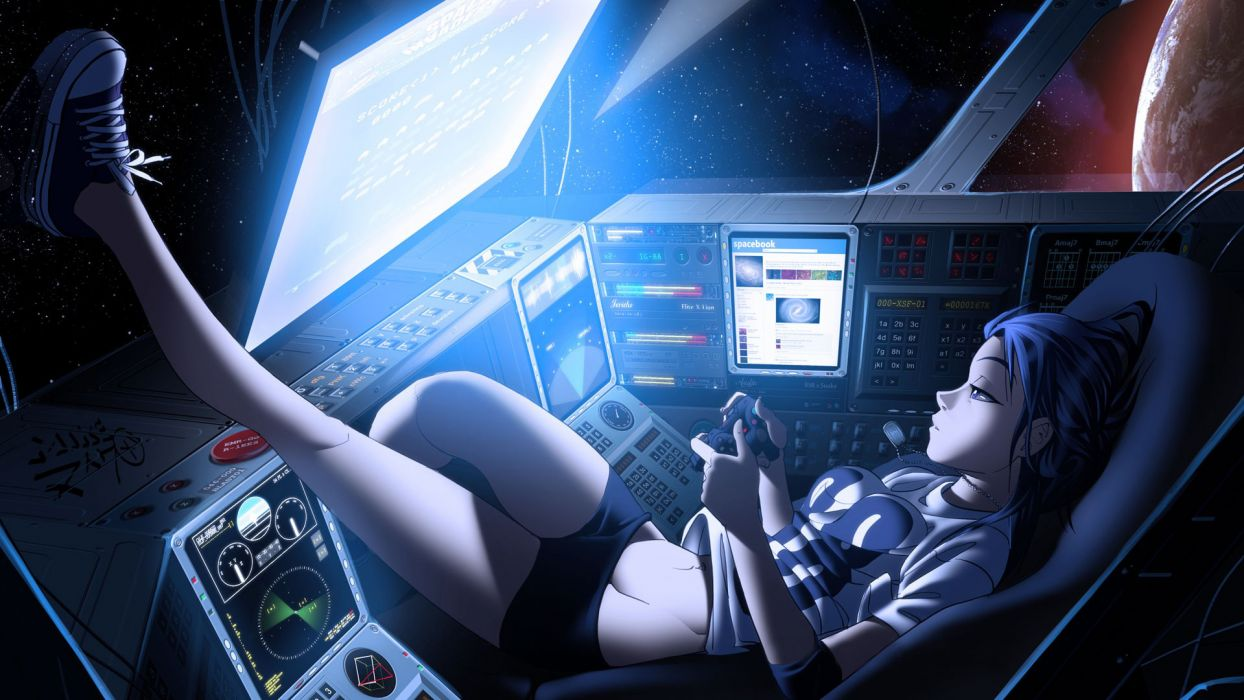 vashperado_deviantart_com anime manga cockpit tech mech spaceship spacecraft screen controls computer sci fi science fiction space window planets glass women females girls babes sexy sensual relax mood wallpaper