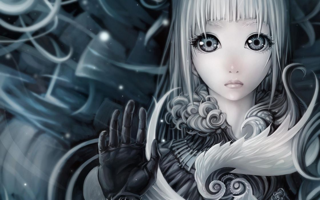 anime manga women females girls blondes art artistic face eyes mood emotion love romance sad sorrow soft hand gesture fantasy wallpaper