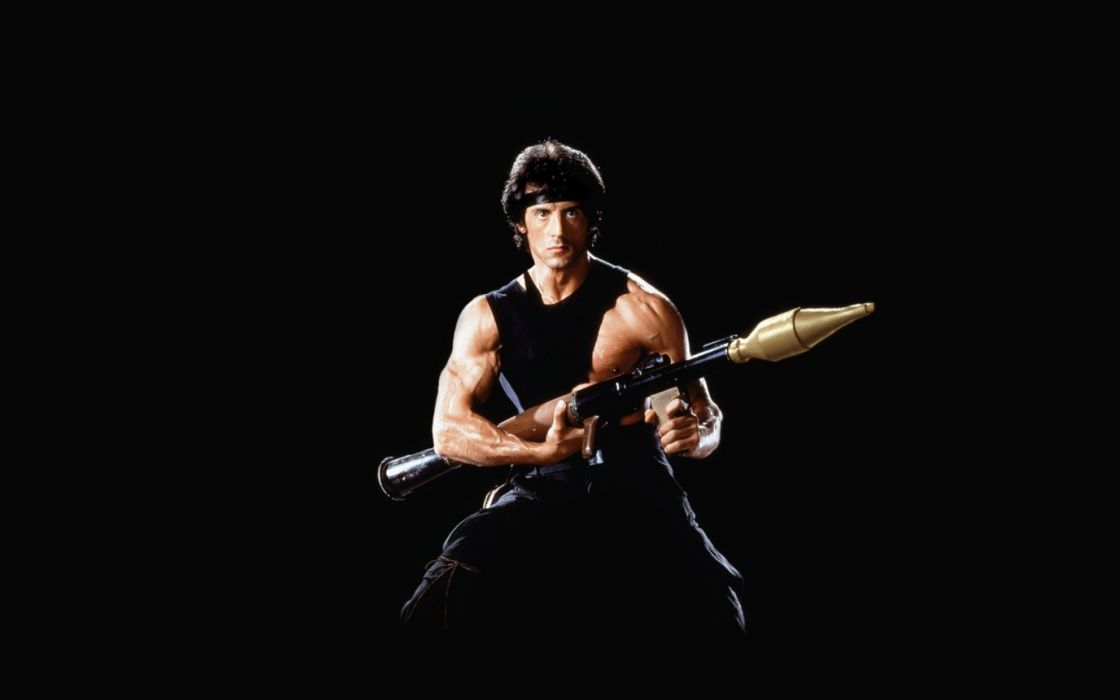 Rambo Grenade launcher Sylvester Stallone warrior soldier weapons actor muscle men males celebrities action wallpaper