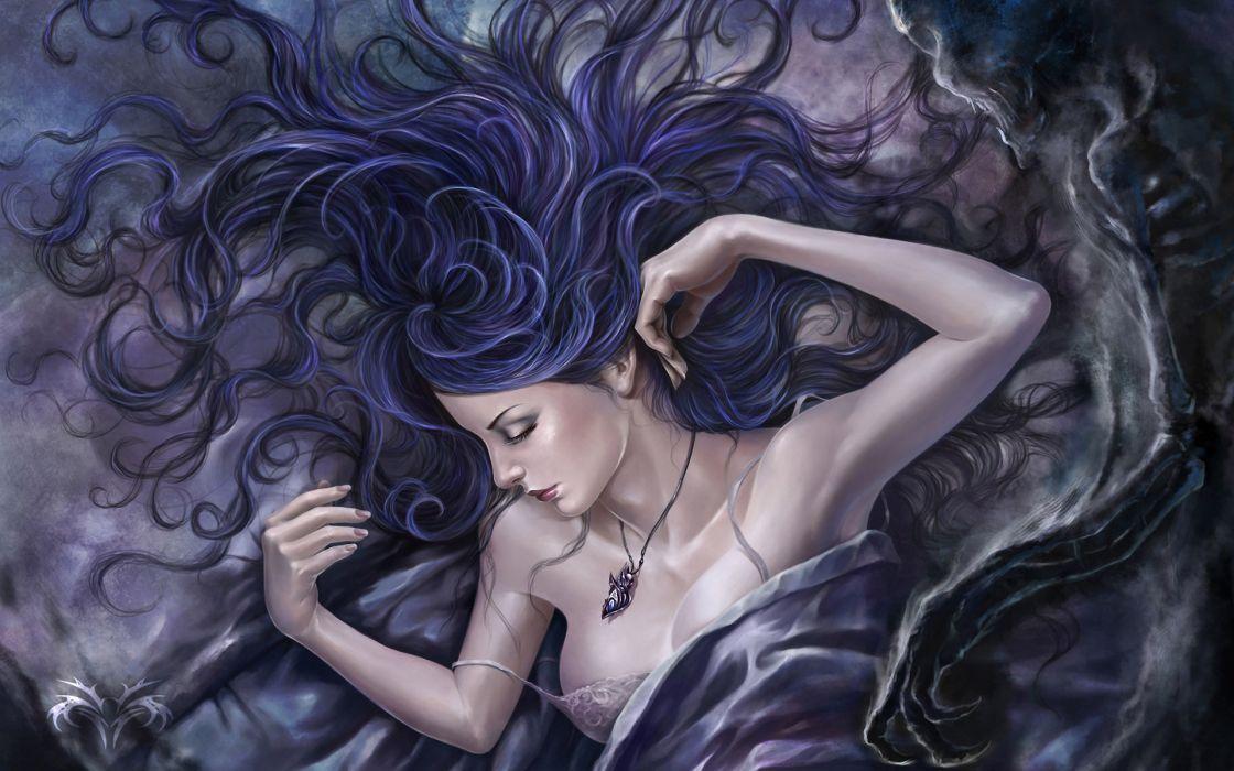 art artistic fantasy dark gothic mood emotion pose jewelry lecklace boobs breast cleavage death sad sorrow skeletons skull pale horror creepy spooky cg digital art wallpaper