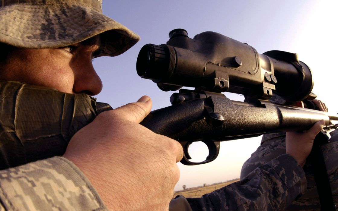 military people warrior soldier weapon guns rifle sight stare glass sniper wallpaper