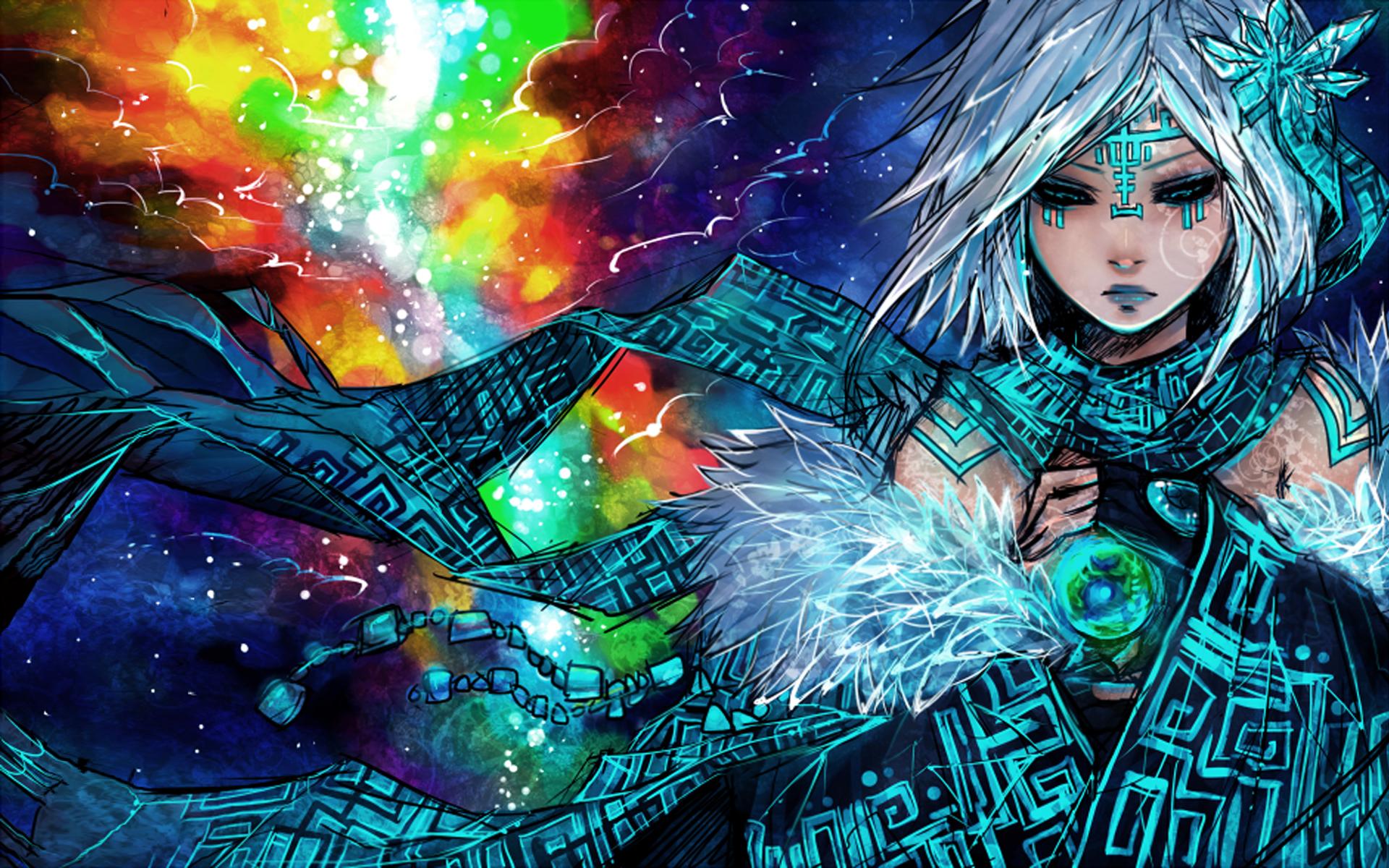 Anime original sci fi science fiction space nebula stars color women ...