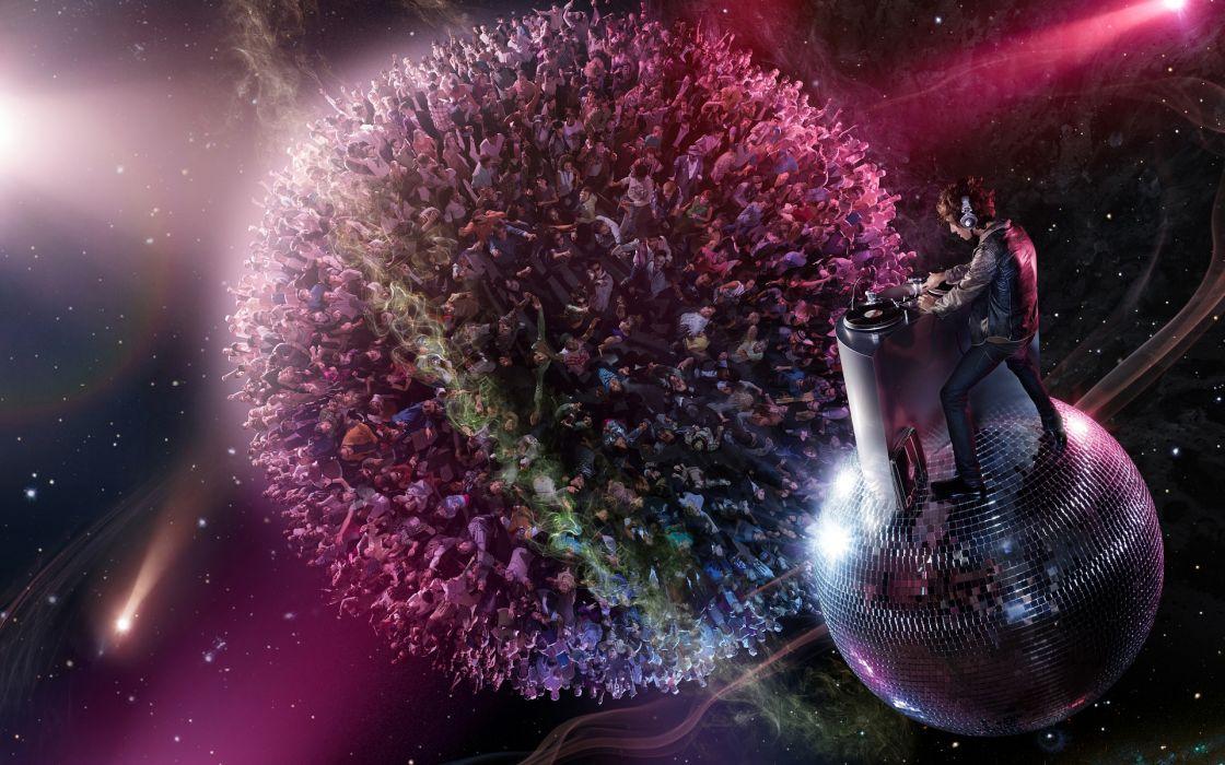 music concert dj disco rave planets sci fi science fiction people men women girls detail manipulation cg digital art ball wallpaper