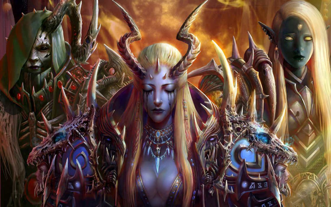 fantasy warriors video games online armor colors detail color jewelry horns people wallpaper
