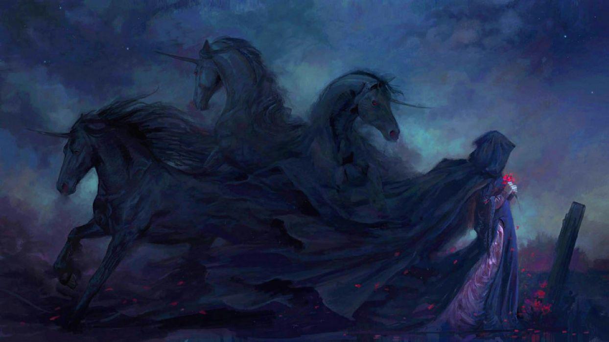 dark gothic animals horses stallion mood emotion sad sorrow fantasy paintings flowers graveyard cemetery art artistic spooky creepy wallpaper