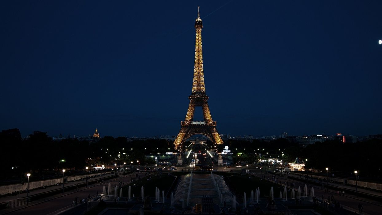 eiffel tower architecture buildings monument scenic lights night paris france wallpaper