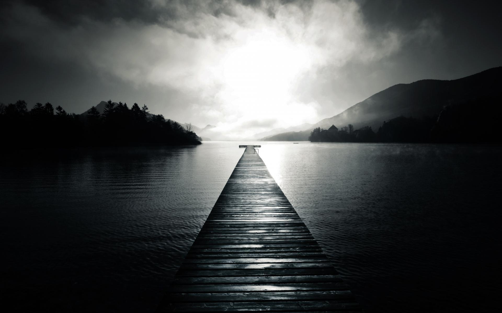 Black white monochrome nature lakes water reflection shore ...