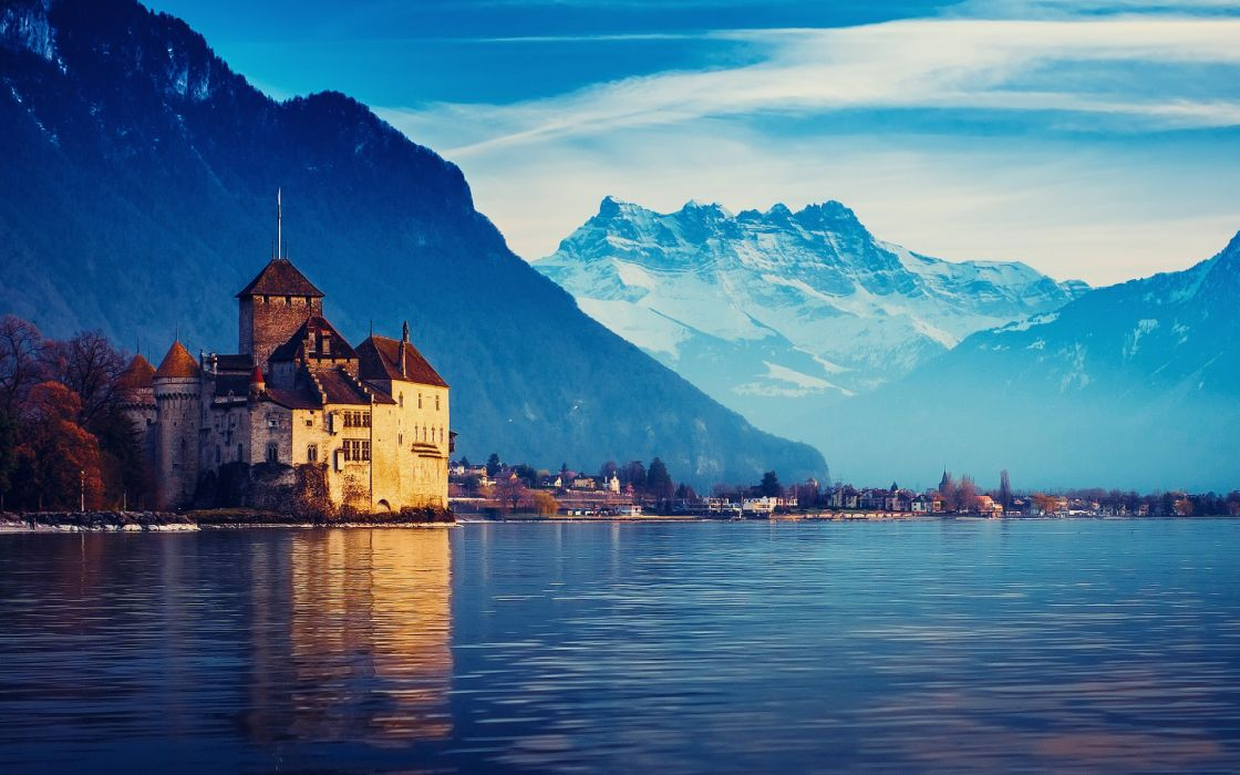 Switzerland Lake Geneva cities castle architecture buildings houses resort scenic place  wallpaper