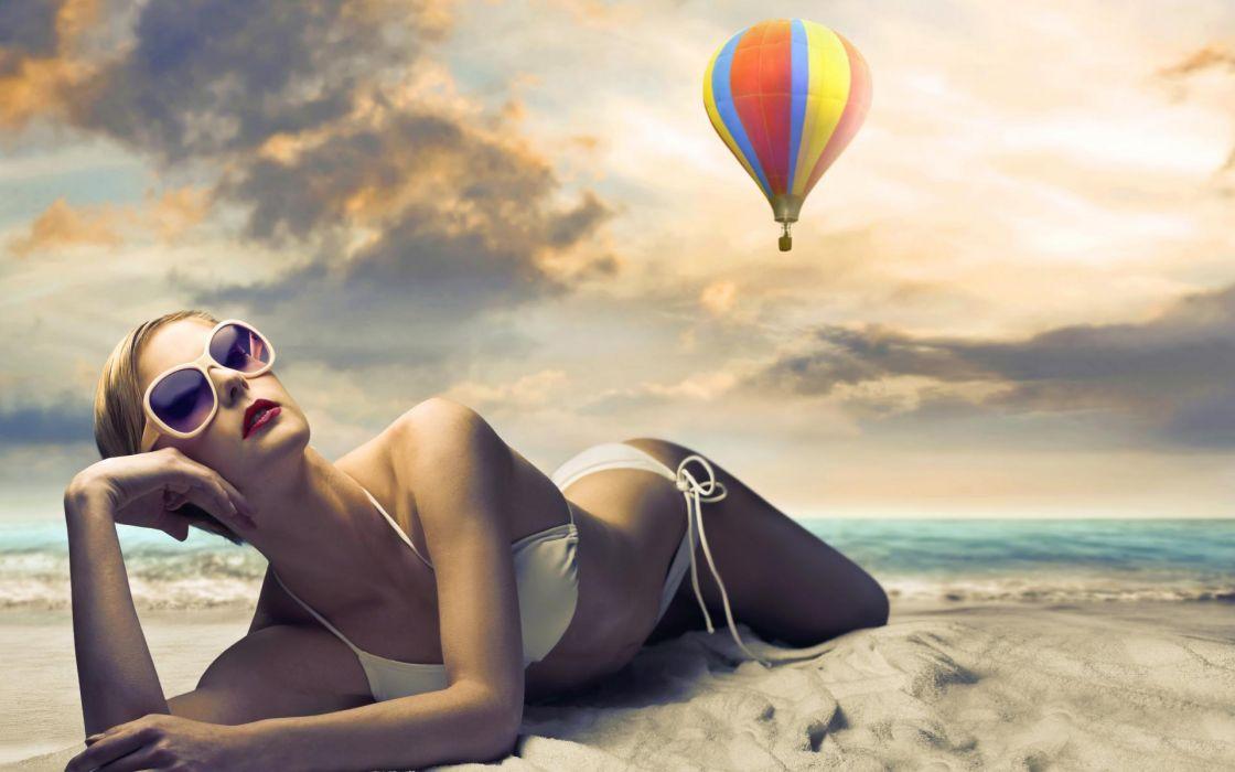 women females girls models blondes style fashion bikini swimwear clothes sexy sensual pose beaches ocean sea water sand waves sky clouds sunlight wallpaper