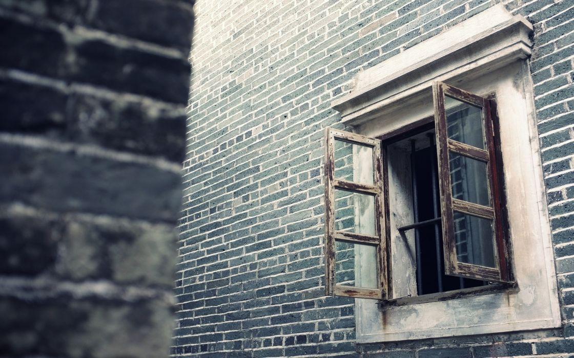 world architecture buildings bricks window glass pane black white tilt shift room wallpaper