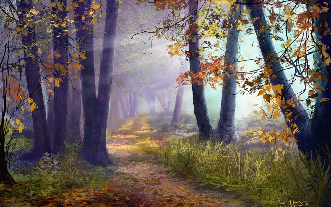 artistic art paintings path trail leaves nature landscapes trees forests autumn fall seasons sunlight sunbeam sun colors wallpaper