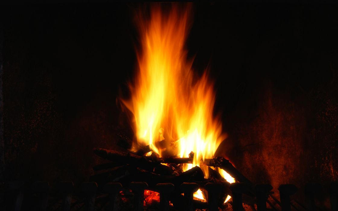photography fire flames coals bright orange heat wood motion dark wallpaper