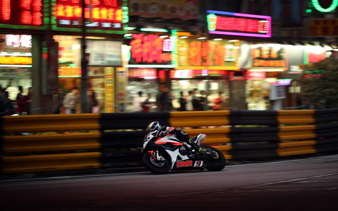 vehicles motorcycles motorbikes bikes race racing track roads people crowd wheels motion speed lights neon signs fence wallpaper