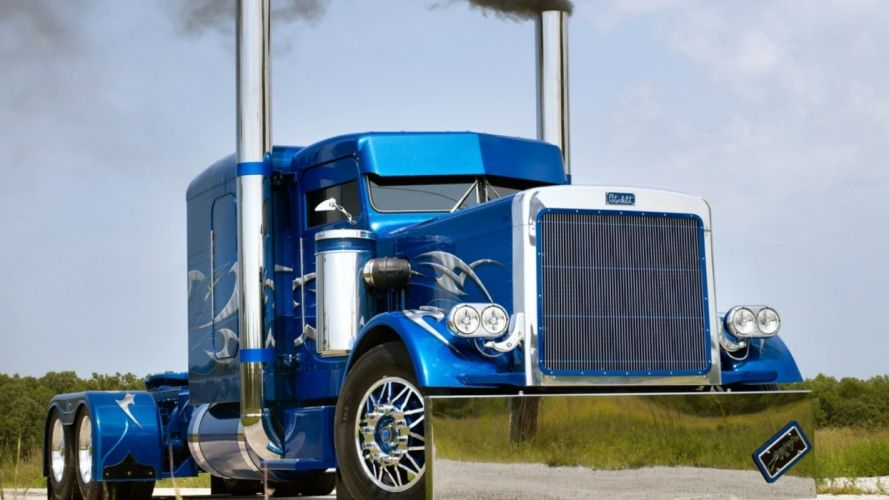 Peterbilt vehicles trucks custum tuning wheels blue chrome lights grill smoke wallpaper