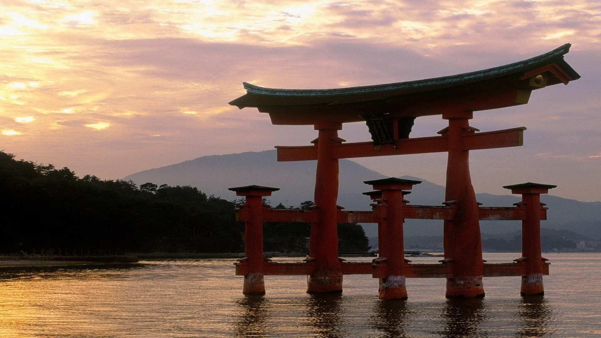 Miyajima Shrine At Sunset Japan Temple Architecture Lakes Water Reflection Asian Oriental Shore Trees Forest Mountain Jungle Zen Wallpaper