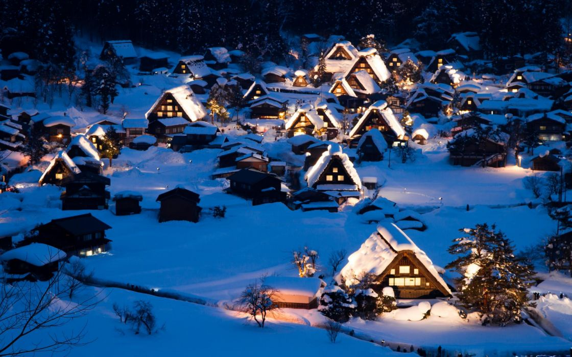 nature landscapes architecture buildings houses cabin window lights resort town village mountains winter snow seasons contrast wallpaper