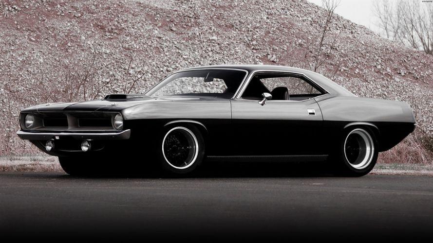 Plymouth Hemi Cuda '70 vehicles cars auto tuning custom muscle hot rod retro classic black wheels stance wallpaper