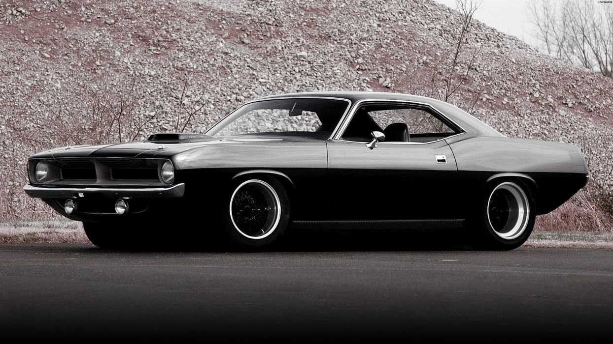 Plymouth Hemi Cuda '70 vehicles cars auto tuning custom muscle hot rod retro classic black wheels stance wallpaper