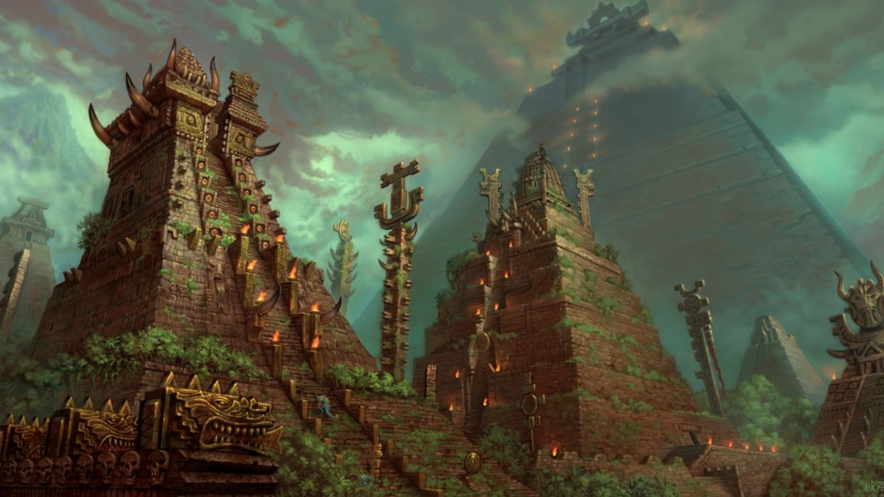 Aztec landscapes fantasy art artistic architecture buildings stairs steps sky clouds storm fire flames ritual jungle trees forest smoke wallpaper