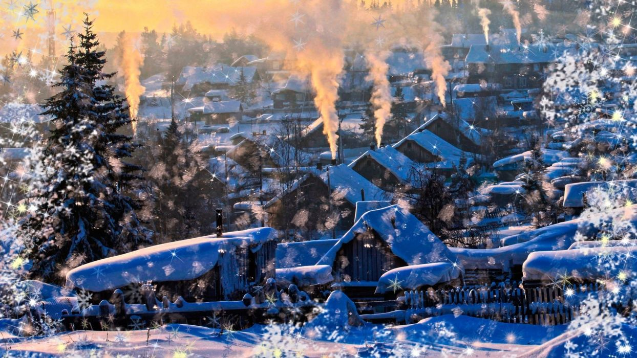 nature landscapes winter snow snowing flakes drops art artistic manipulation seasons trees architecture buildings house smoke sunset sunrise cozy christmas wallpaper