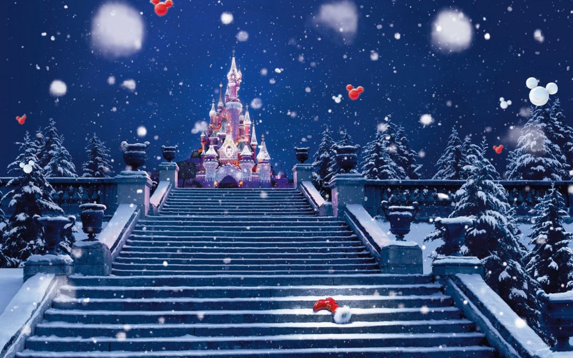 Holidays christmas children disney winter snow snowing flakes holidays christmas children disney winter snow snowing flakes drops stairs magical castle mickey wallpaper voltagebd Images