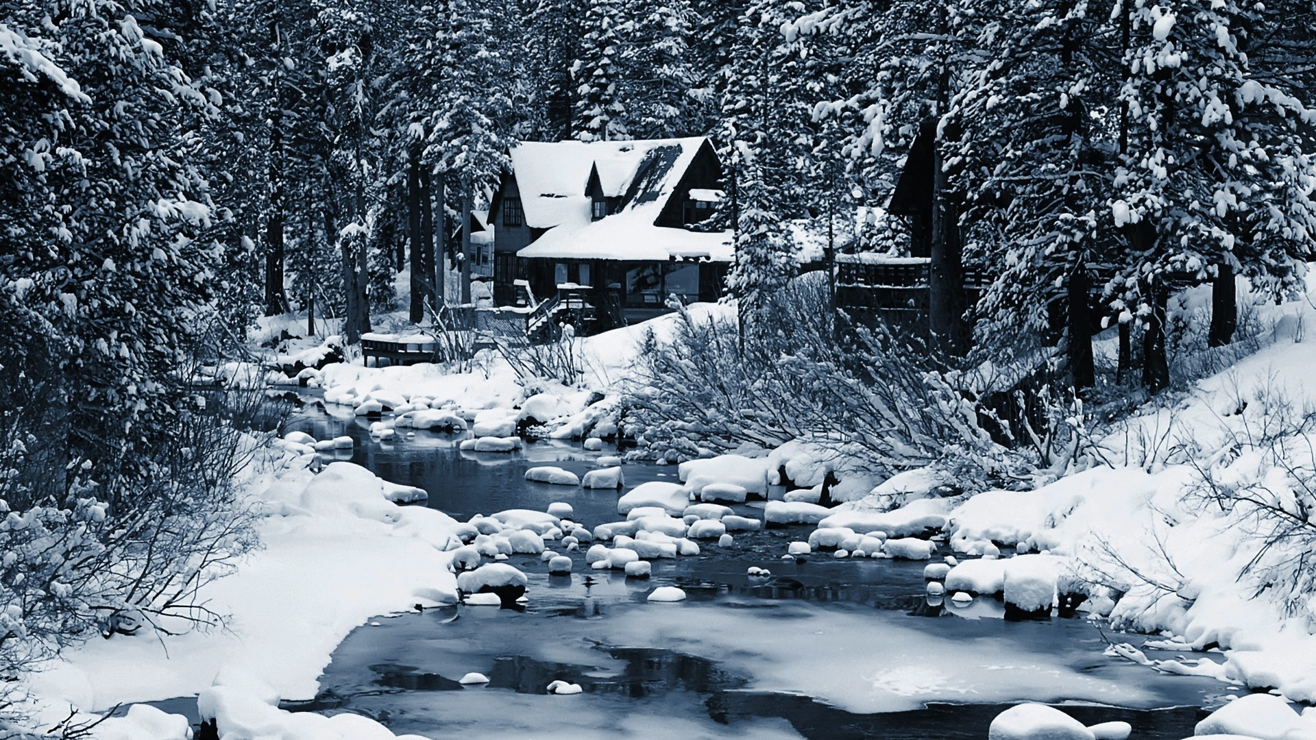 Nature Landscapes Winter Snow Seasons Rivers Stream Rocks