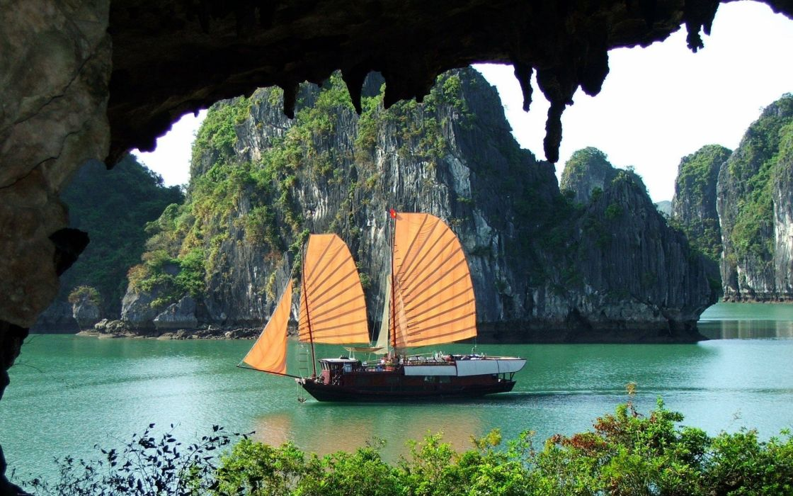 Ha Long Bay Viet Nam Imperial Junk vehicles boat ship sailing boating water sound bay islands jungle plants nature landscapes sky wallpaper