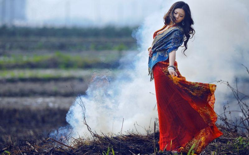 women females girlsd babes models sensual asian oriental dress style brunette pose mood emotion smoke fire landscapes fields wallpaper