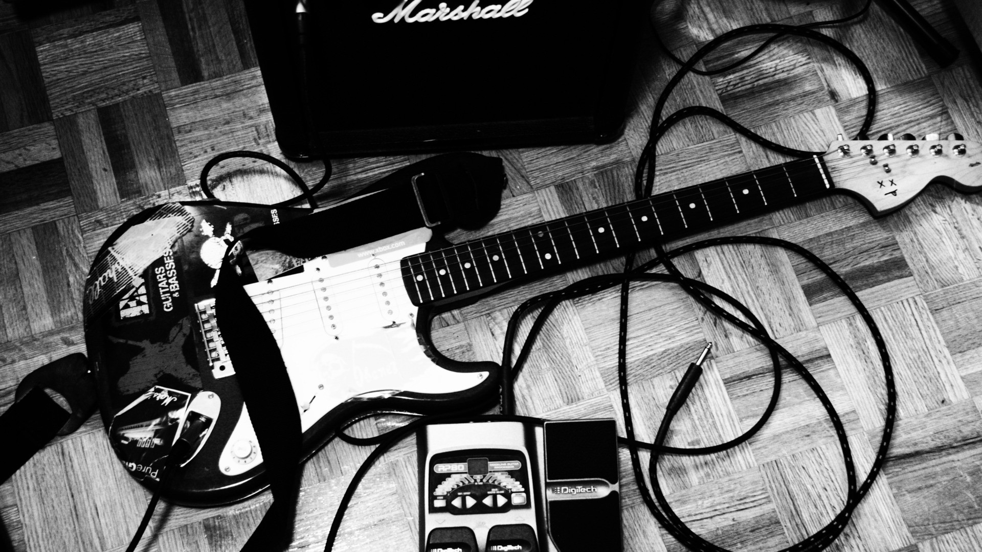 Rock N Roll Wallpaper Free High Resolution Images: Entertainment Music Guitars Black White Amp Strings Tech