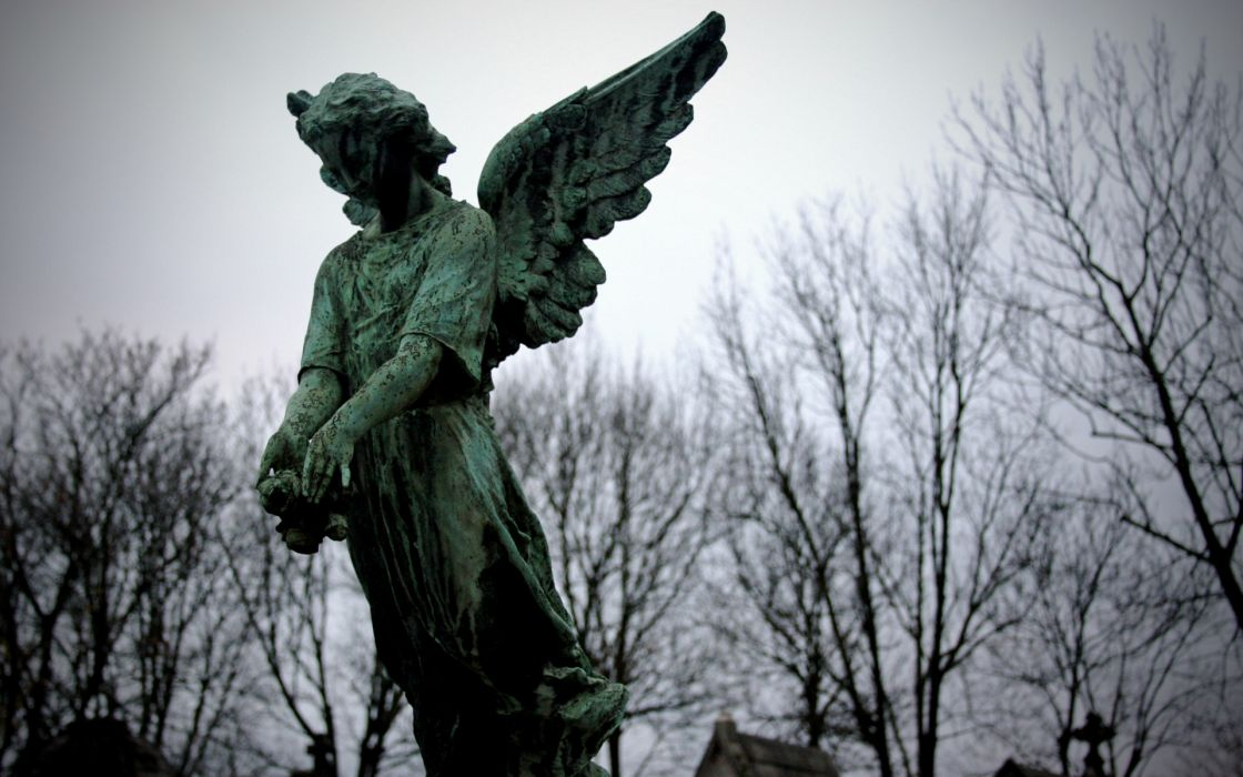 gothic angels photography wings cemetery grave graveyard trees sky dark death religion brass wallpaper