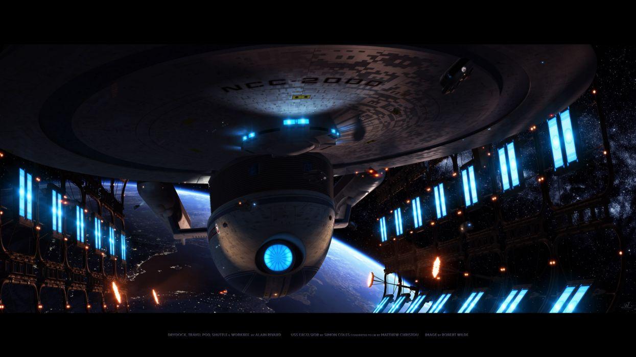 Star Trek Starship Spaceship Dry Dock spacecraft mech tech sci fi science fiction lights space ship vehicle video games detail dark wallpaper