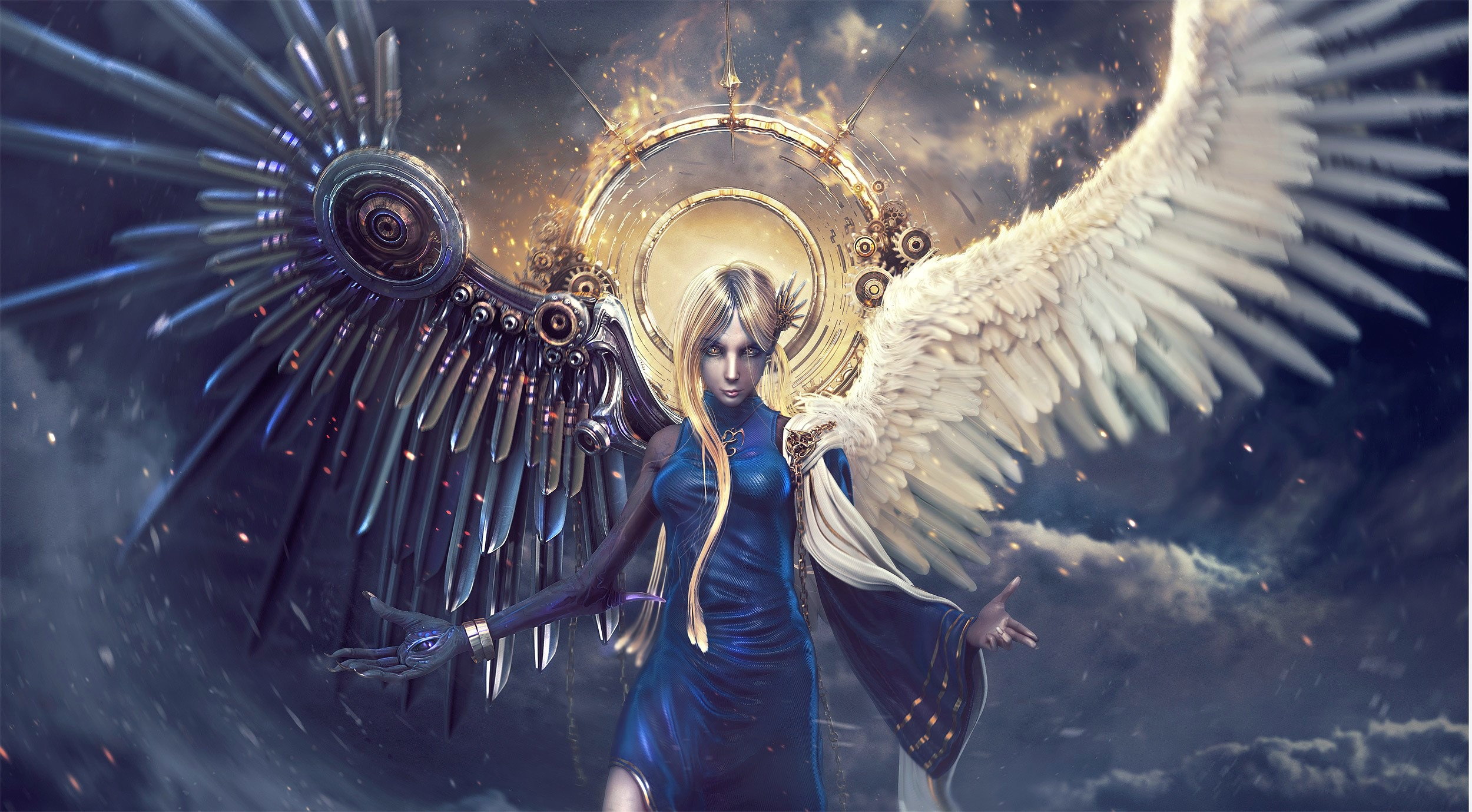 fantasy angel sci fi science fiction mech tech wings psychedelic ...: www.wallpaperup.com/26621/fantasy_angel_sci_fi_science_fiction_mech...