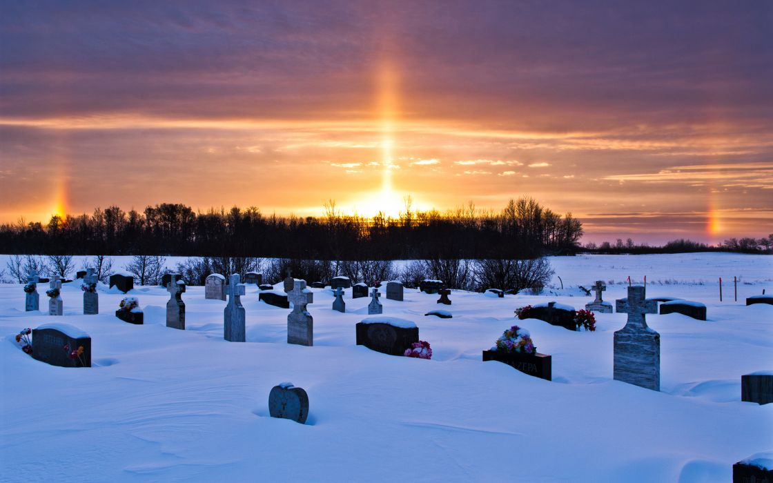 nature landscapes winter snow seasons cold trees scenic sunset sunrise sky clouds dark cemetery grave headstone sad sorrow death stone signs gothic wallpaper