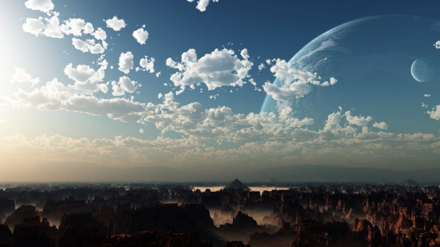 cg digital art 3d nature landscapes canyon mountains alien planets moon sky sci fi science fiction artistic wallpaper