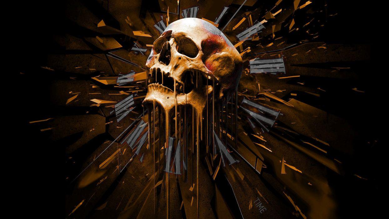 dark skull time art artistic death detail evil creepy spooky halloween face eyes wallpaper