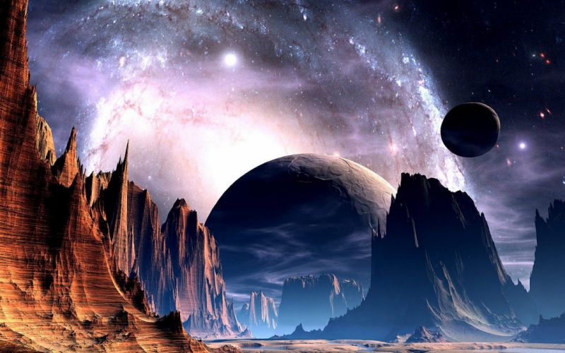 sci fi science fiction planets alien sky stars nebula galaxy space universe light bright nature landscapes mountains cliff valley spire art artistic wallpaper