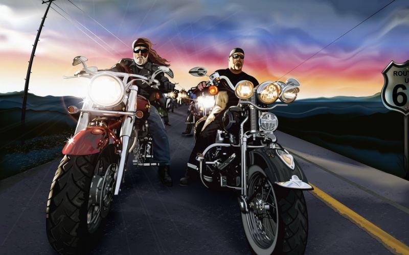 vehicles motorcycles motorbikes bikes lights biker roads hog harley sky clouds art artistic davidson route 66 wallpaper