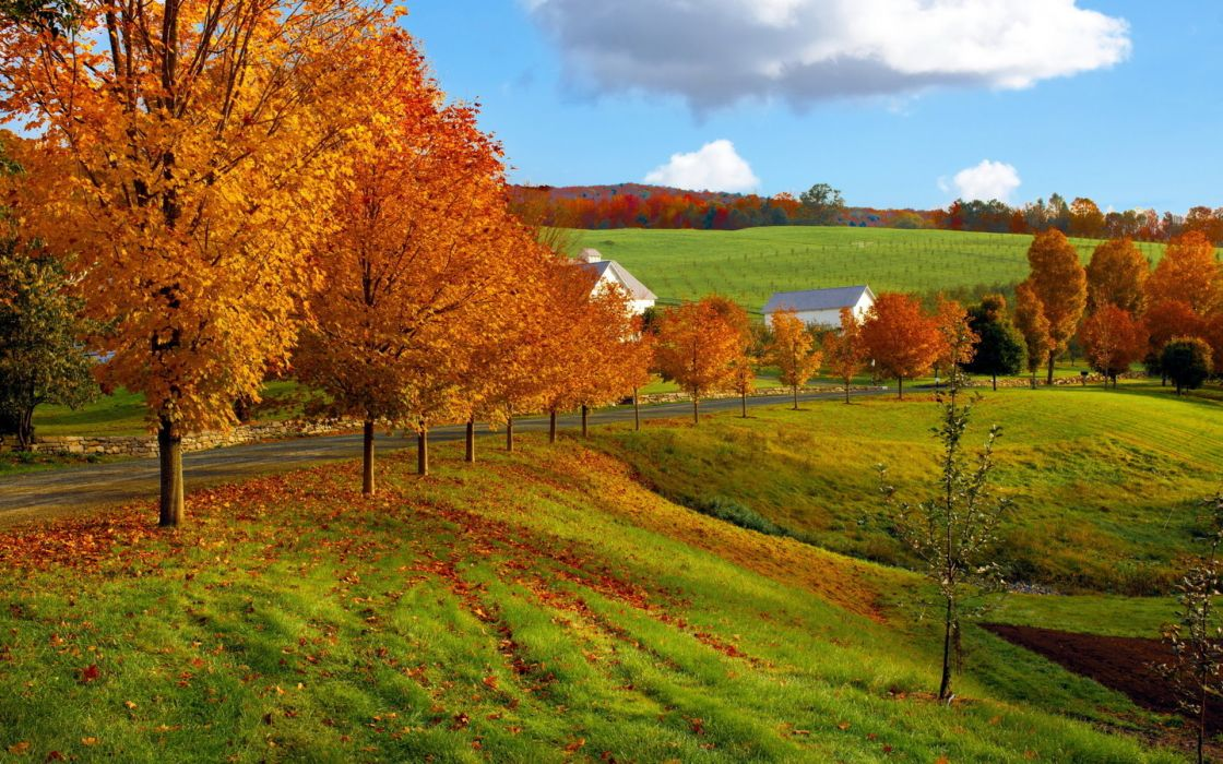 nature landscapes autumn fall seasons leaves fields grass roads fence farm architecture buildings houses barn sky clouds hills color wallpaper