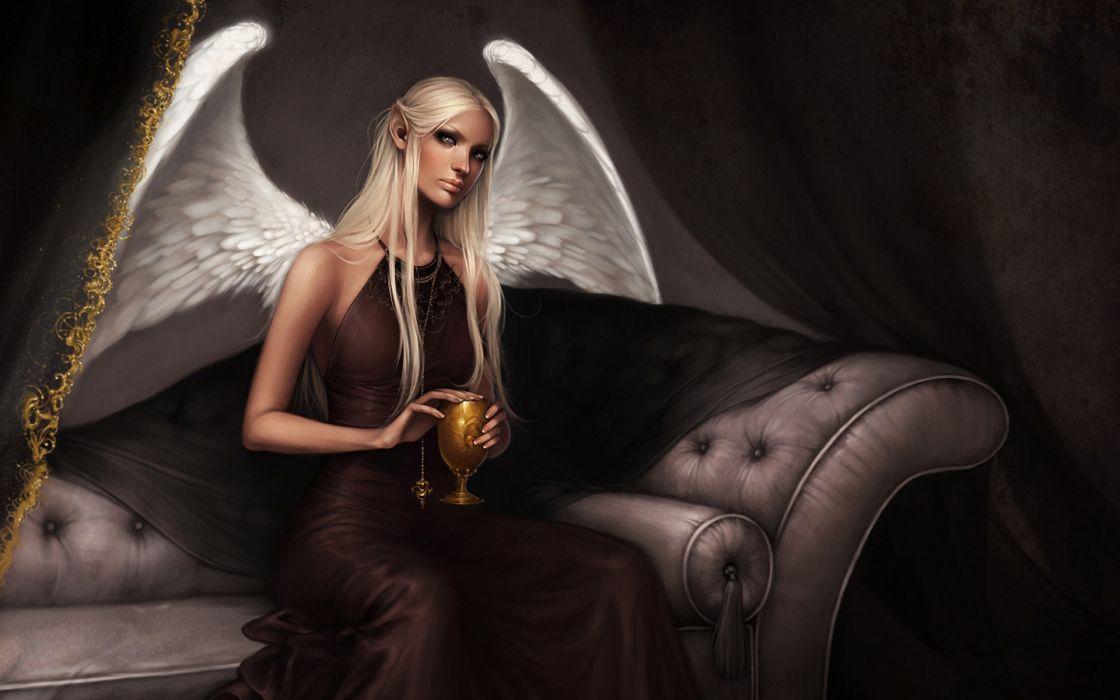 fantasy angels wings feathers elf elves women females girls blondes art artistic paintings wallpaper