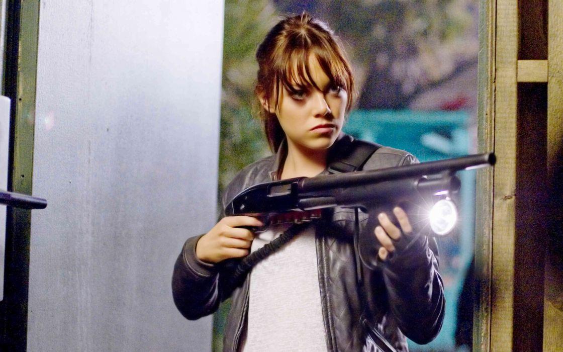Zombieland Emma Stone entertainment actress celebrities women females girls babes brunettes weapons guns shotgun rifles zombie wallpaper
