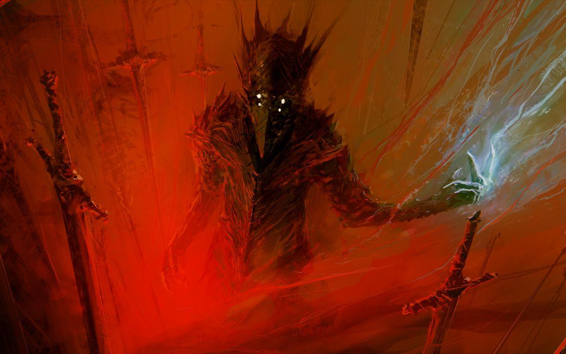 paintings red berserk fantasy art science fiction artwork swords demon hell swords dark horror scary creepy spooky wallpaper