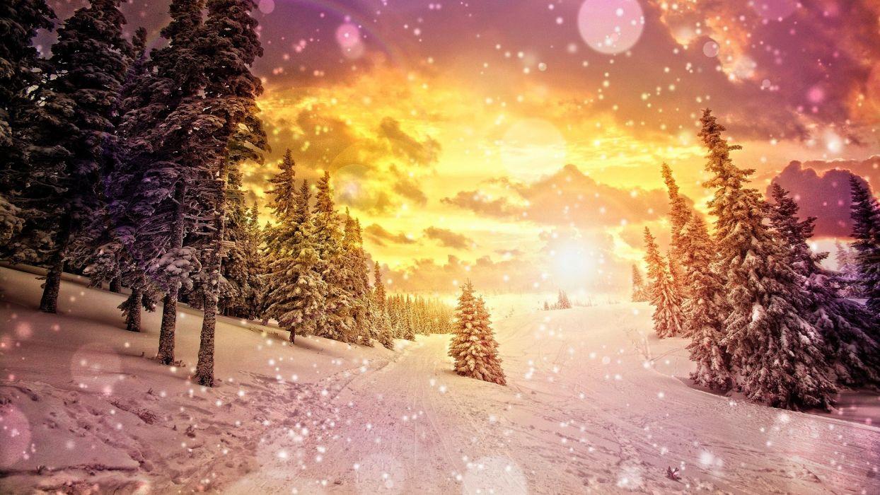 art artistic cg digital nature landscapes mountains winter snow snowing flakes drops sparkle sky clouds sunset sunrise seasons wallpaper